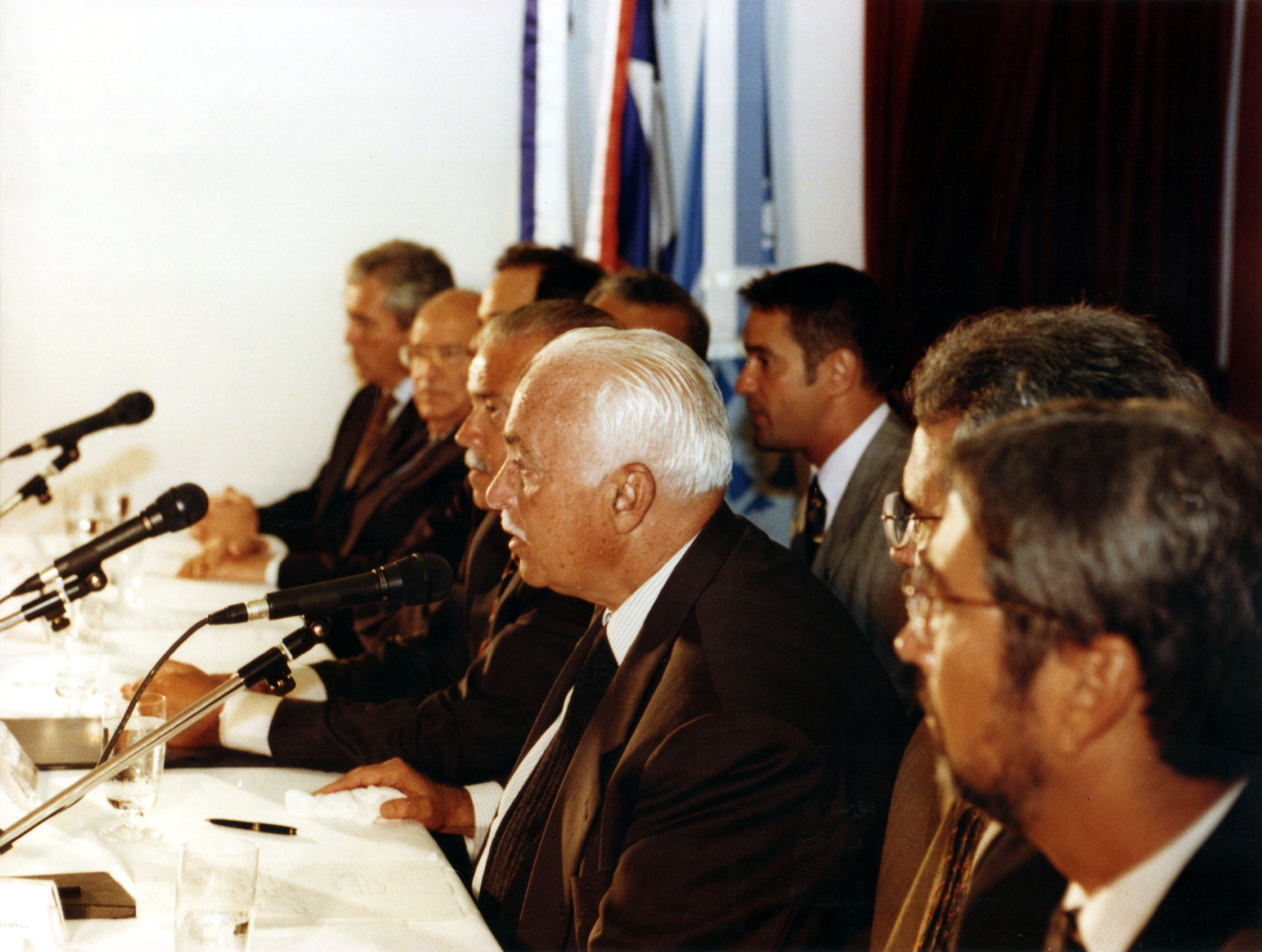 Antonio Carlos Magalhães (Governor of Bahia) during the Opening of Luís Eduardo Magalhães Foundation, nov/16/98, Salvador, Bahia